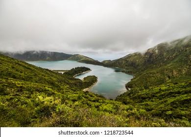 Beautiful landscape of Lake of Fire Lagoa do Fogo in Sao Miguel Island - Azores