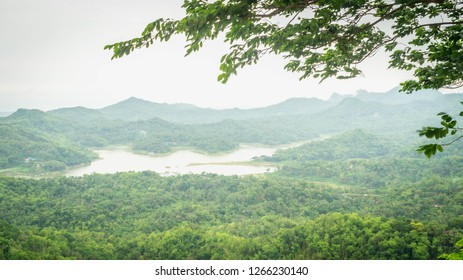 beautiful landscape of lake surrounded by the mountains, Kalibiru, Yogyakarta