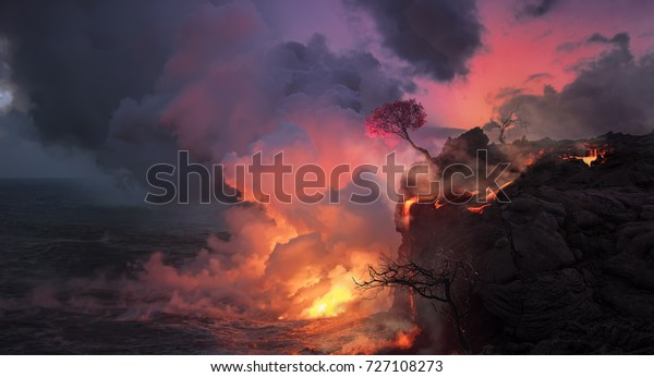 Beautiful landscape of lava flowing from shore into the ocean, cherry blossom tree with pink flowers at edge of coast on volcanic Big Island aka Hawaii.