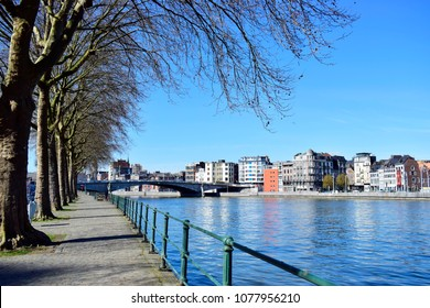 Beautiful landscape of Liege city and river Meuse with blue sky and white clouds, good weather in spring or summer season, located in Liège, Belgium