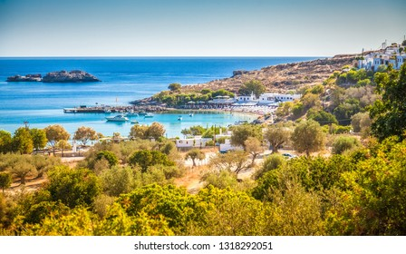 beautiful landscape with the Lindos beach, Rhodes island, Greece