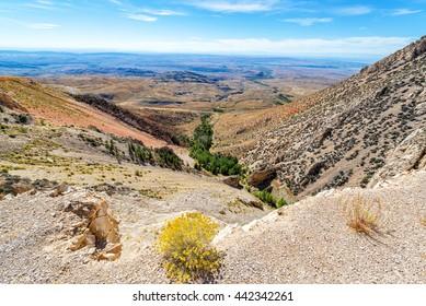Beautiful landscape looking down from the Bighorn Mountain Range near Sheridan, Wyoming