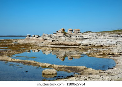 Beautiful landscape at low tide at Grande ile in Mingan Archipelago National Park Reserve in Quebec in Canada