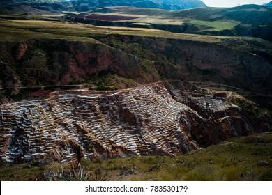 Beautiful landscape of Maras Inca's salt-evaporation ponds in Sacred Valley, Peru