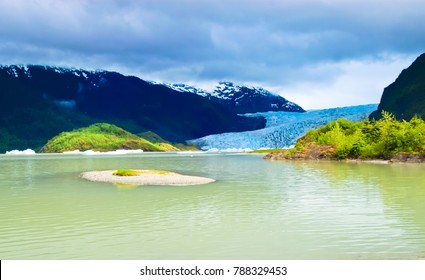 beautiful landscape of mendenhall lake and glacier juneau alaska usa