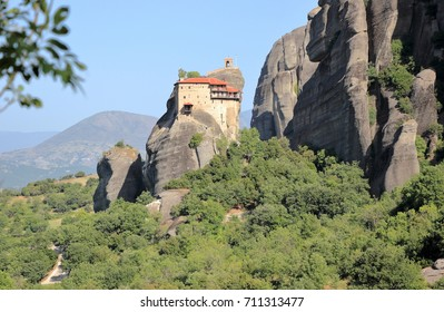 Beautiful landscape of Meteora. Monastery, Kalambaka, Kastraki, central Greece.