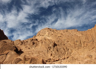 A beautiful landscape in the midst of the rocky mountains in a magnificent, beautiful landscape in St. Catherine, Egypt
