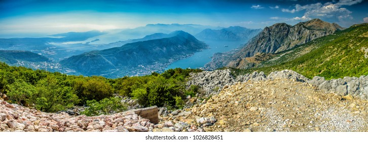 Beautiful landscape of Montenegro, Montenegro mountains, sea and mountains. Panorama