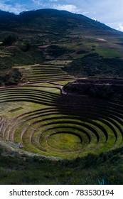 Beautiful landscape of Moray Inca ruin in Sacred Valley, Peru ;near Cusco, Urubamba, Maras salinas, and Machu Picchu.