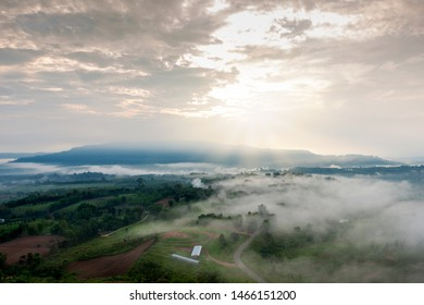 Beautiful landscape of the mountain in the fog in sunrise, sunset time at Khaotakeanngo Phetchabun province Thailand, Popular viewpoints of tourists in Phetchabun province Thailand.