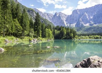 beautiful landscape in mountain lake, laghi di fusine, italy
