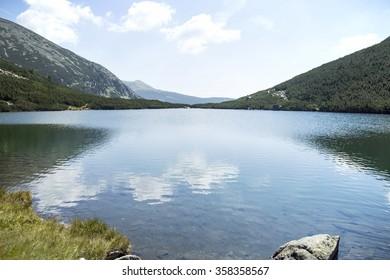 Beautiful landscape with mountain lake, nature landscape