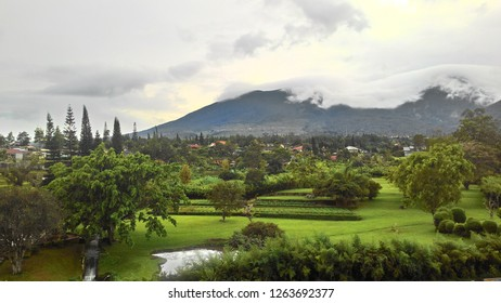 Beautiful Landscape of Mountain Layer in Wet Season at Puncak, Bogor, Indonesia