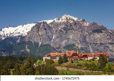 Beautiful landscape of mountain and the luxurious hotel Llao Llao near San Carlos de Bariloche town, Patagonia, Argentina,