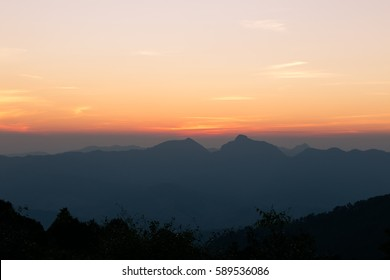 Beautiful landscape of mountain and the mist view at Nan, Thailand. The most popular place for tourists in winter of Thailand