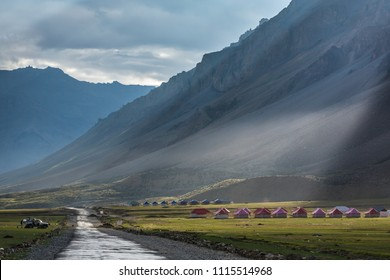 Beautiful landscape of the mountain valley in Sarchu camp stay in Ladakh, Northern India