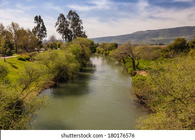Beautiful landscape of the mountains of Galilee and Golan Heights via Jordan River