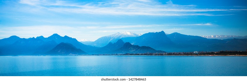 Beautiful landscape of mountains and the Mediterranean sea in Turkey, Antalya.Panorama