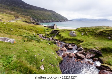 Beautiful landscape with mountains and ocean. Achill Ireland, view at Keem beach.