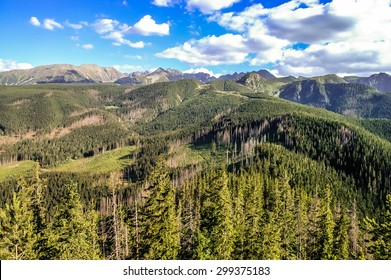 Beautiful landscape of mountains. Panorama of the polish Tatra Mountains, view from the top of Nosal, Zakopane, Poland
