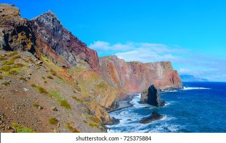 Beautiful landscape with mountains and sea. View of Sao Lourenco cape, Madeira Island, Portugal, Europe.