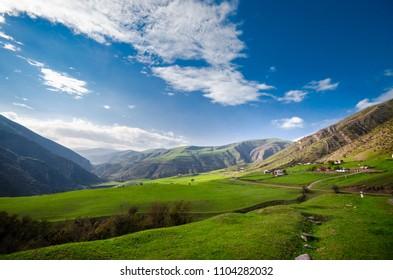 Beautiful landscape in the mountains with the sun at dawn. Mountains at the sunset time. Azerbaijan, Talish Mountains. Yardimli Masalli