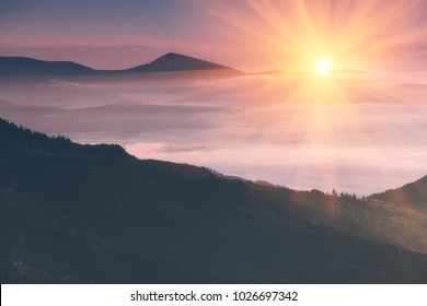 Beautiful landscape in the mountains at sunrise. View of  the foggy hills covered by forest. Retro effect. Traveling concept background.