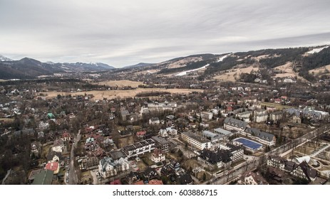 Beautiful landscape of mountains, view at Zakopane from the top of Gubalowka, Tatra Mountains in Poland.