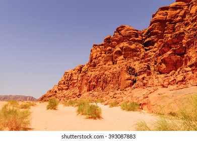 Beautiful landscape of the Mountains of the Wadi Rum, The Valley of the Moon,  southern Jordan.