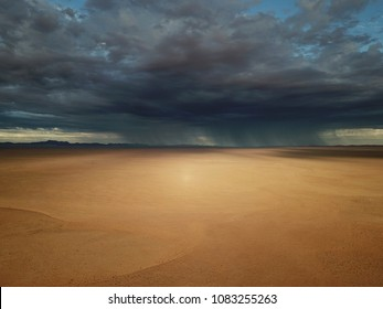 Beautiful landscape in Namibia with dark clouds approaching with a rainstorm during drought in the desert.