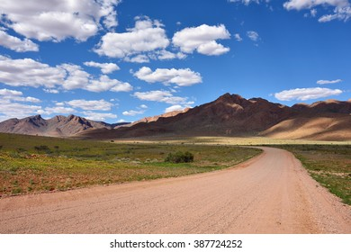 Beautiful landscape the Namib-Naukluft National Park, where the mountains of the Namib desert meet its plains. Dirt road to mountains