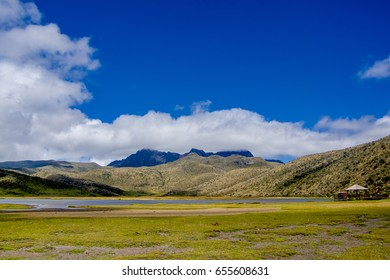 Beautiful landscape of the National Park Cotopaxi with Limpiopungo lake in a sunny day