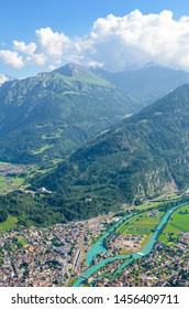 Beautiful landscape near Interlaken taken with Aare river and Swiss Alps in background. Photographed from Harder Kulm, Switzerland in summer season. Amazing Alpine landscapes