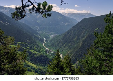 beautiful landscape near of Roc Del Quer viewpoint in the Andorran Pyrenees