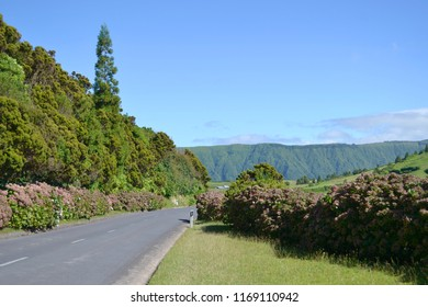 Beautiful landscape near Sete Cidades in São Miguel Island, the largest of the Azores Islands, Portugal.