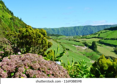 Beautiful landscape near Sete Cidades on São Miguel Island, the largest of the Azores Islands, Portugal.