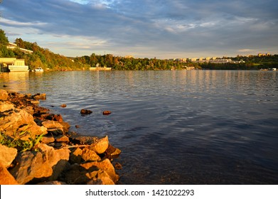 Beautiful landscape near water reservoir at sunset. City of Brno - Brno Dam. Czech Republic Europe.