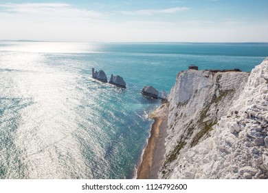 Beautiful landscape from The Needles Isle of Wight,one of the most romantic and iconic places in England,Needles park Isle of Wight UK,June 30 2018