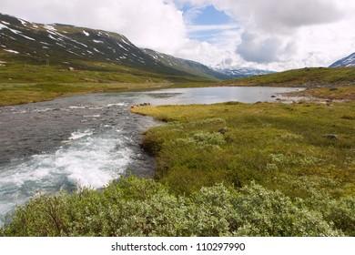 Beautiful landscape of norwegian mountains, scandinavian Europe.