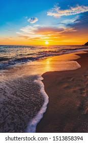 Beautiful Landscape Ocean Summer sunset Natural background Vertical