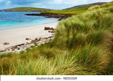 Beautiful landscape on a cloudy day at Sellerna beach, Cleggan, Ireland.