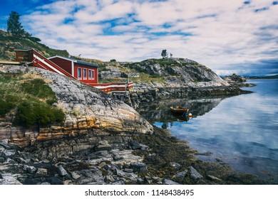 Beautiful landscape on the coast of famous Atlantic Ocean Road -  Atlanterhavsveien , More og Romsdal county, Norway.