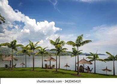 Beautiful landscape on the edge of lake Kivu in Rwanda, East Africa