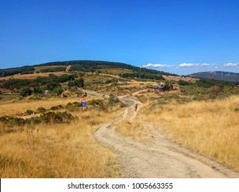 Beautiful landscape on the El Camino de Santiago pilgrimage in Spain Beautiful Spanish landscape scene mountains