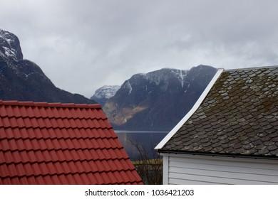 Beautiful landscape on the way to Stegastein in Aurland Norway, Aurland postcard on spring