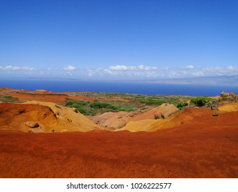 A beautiful landscape over Lanai and the Pacific Ocean.
