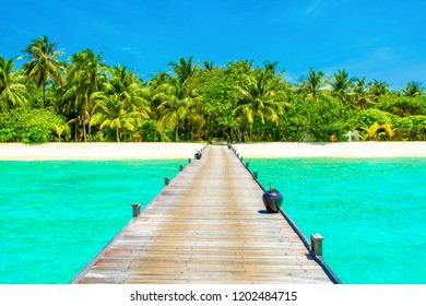Beautiful landscape of over water wooden bridge to sandy beach with palms and tropical plants, Maldives island, Indian Ocean