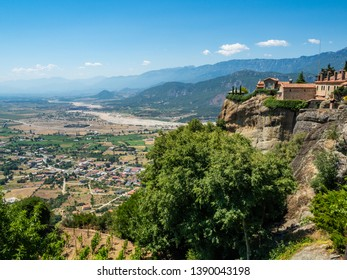 Beautiful landscape overlooking the Monastery of St. Stephen and the town of Kalambaka and the mountains in Greece