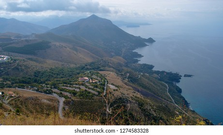 Beautiful landscape overlooking the sea and the city and the road from the top of the mountain, Maratea, Basilicata, Potenza, Italy