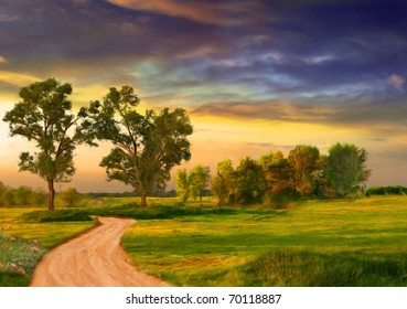 Beautiful landscape painting showing road, trees, meadow and stormy clouds.